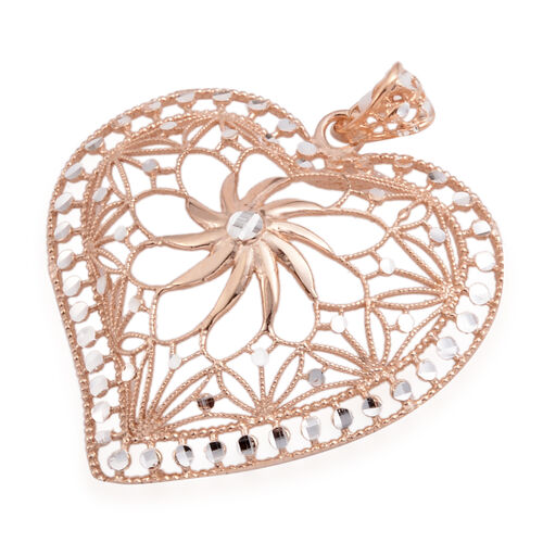 JCK Vegas Collection Rose Gold Overlay Sterling Silver Floral Heart Pendant, Silver wt. 6.40 Gms.