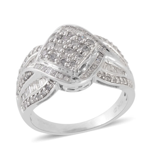 New York Close Out Deal 9K W Gold Diamond (Rnd) (I1- I2 and G-H) Ring 1.000 Ct. Gold Wt 5.70 Gms
