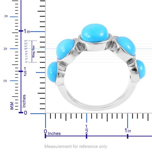 Arizona Sleeping Beauty Turquoise (Ovl 1.33 Ct) 5 Stone Ring in Platinum Overlay Sterling Silver 4.230 Ct.