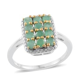 Brazilian Emerald (Rnd) Ring in Platinum and Yellow Gold Overlay Sterling Silver 1.250 Ct.
