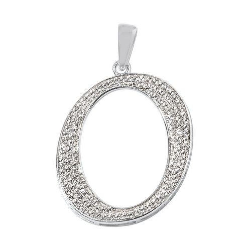 ELANZA AAA Simulated White Diamond O Initial Pendant in Platinum Overlay Sterling Silver