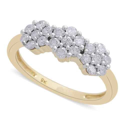 9K Yellow Gold 0.50 Carat Diamond Triple Floral Ring, SGL Certified I3 G-H