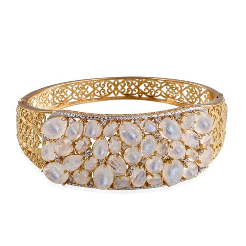 Natural Rainbow Moonstone (Pear), Natural Cambodian Zircon Bangle (Size 7.5) in 14K Gold Overlay Sterling Silver 40.000 Ct.