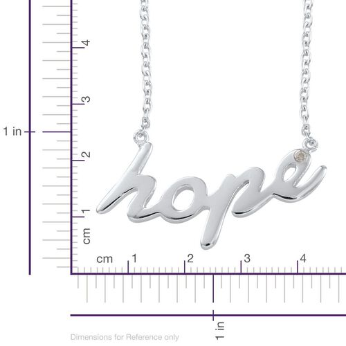 Diamond (Rnd) Hope Message Necklace (Size 18) in Platinum Overlay Sterling Silver