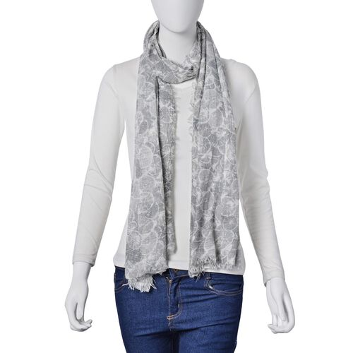 Summer Collection-Grey Colour Scarf with Cream Colour Section Pattern (Size 180x90 Cm)