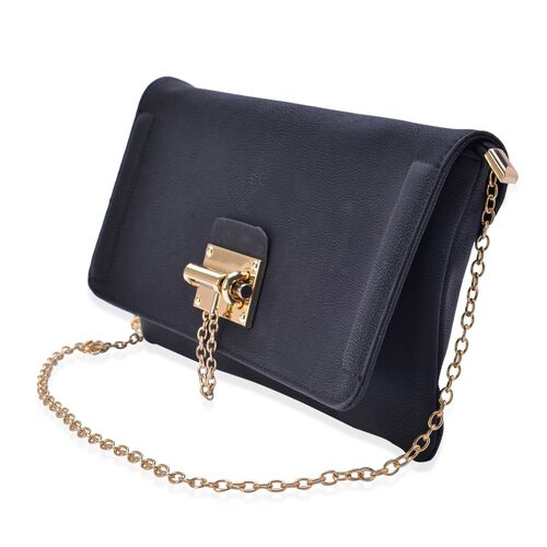 Black Colour Crossbody Bag with Chain Strap (Size 29x16 Cm)