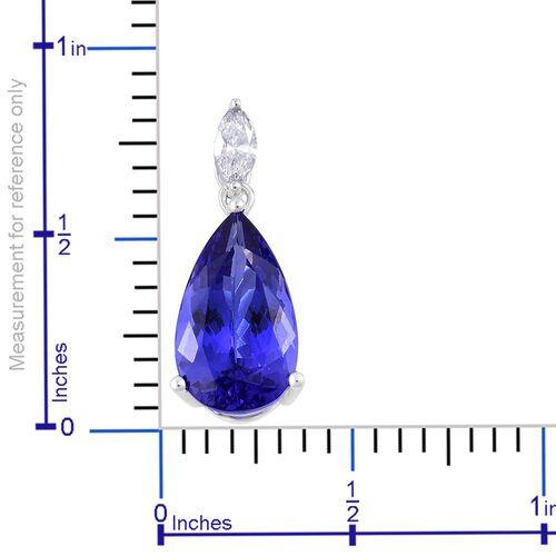Signature Collectin - ILIANA 18K W Gold AAA Tanzanite (Pear 4.25 Ct), Diamond (SI/G-H) Pendant 4.500 Ct.