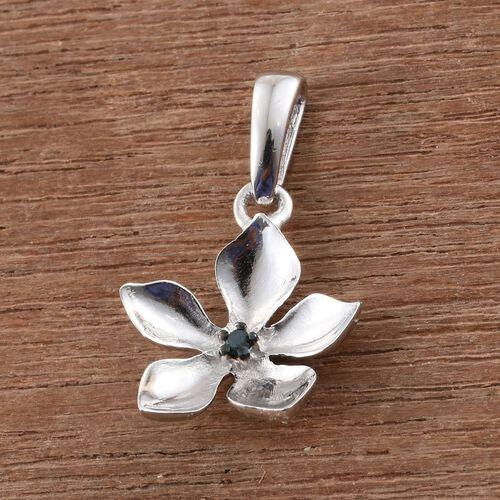 Kimberley Blue Diamond (Rnd) Floral Pendant in Platinum Overlay Sterling Silver