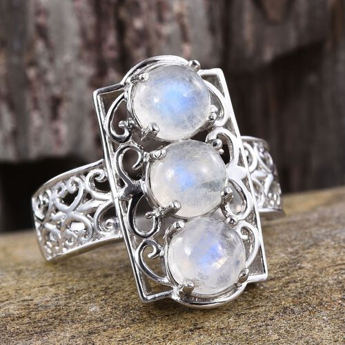 Natural Rainbow Moonstone (Rnd) Trilogy Ring in Platinum Overlay Sterling Silver 5.250 Ct.