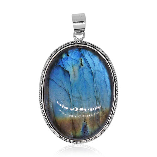 Royal Bali Collection Labradorite (Ovl) Pendant in Sterling Silver 86.820 Ct. Silver wt 6.00 Gms.
