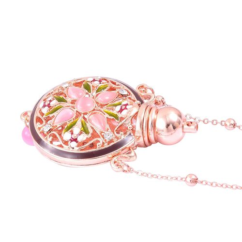Turkish Style Perfume Bottle Necklace (Size 27) with Simulated Rose Gold Pearl, Simulated Pink Cats Eye and White Austrian Crystal in Rose Gold Plating