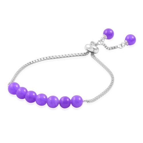 Purple Jade Ball Beads Bolo Bracelet (Size 6.5 to 7.5) in Rhodium Plated Sterling Silver 16.560 Ct.