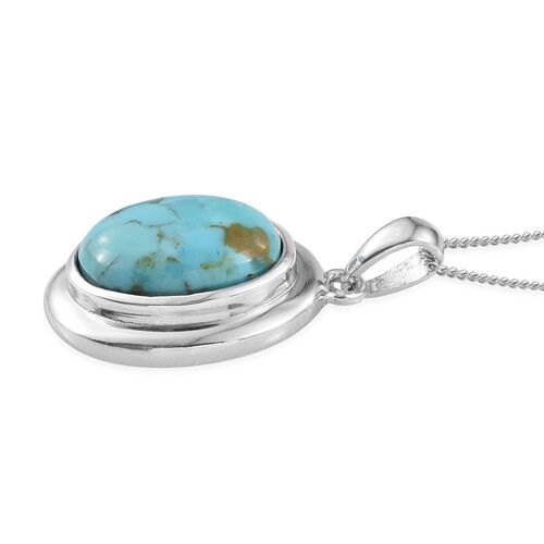 Arizona Matrix Turquoise (Ovl) Solitaire Pendant With Chain in Platinum Overlay Sterling Silver 4.250 Ct.