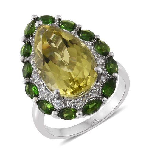 Brazilian Green Gold Quartz (Pear 13.00 Ct), Russian Diopside and Natural Cambodian Zircon Ring in Platinum Overlay Sterling Silver 15.750 Ct.