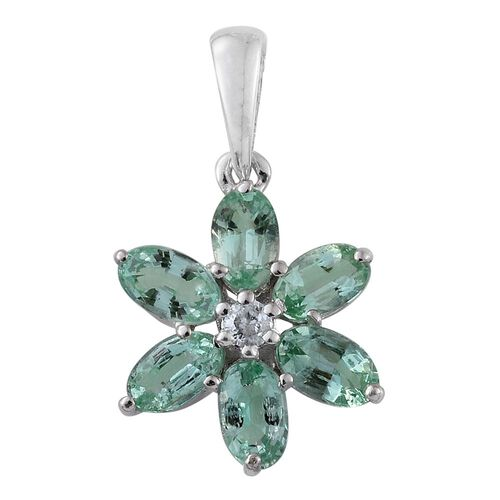 9K White Gold 1.37 Ct AA Colombian Emerald Flower Pendant with Natural Cambodian Zircon
