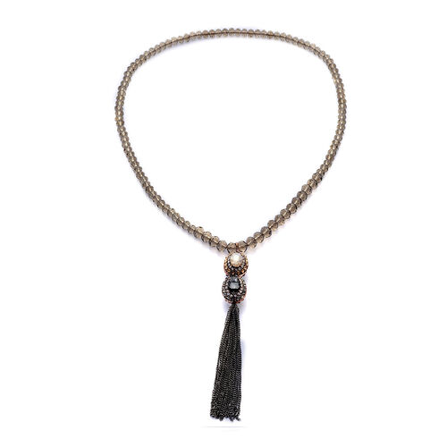 Glass, Champagne Glass, White, Grey and Champagne Colour Austrian Crystal Necklace (Size 28) in Black Tone