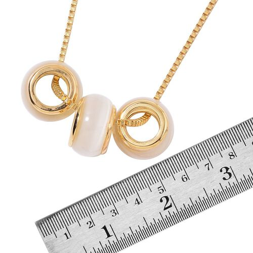 Simulated White Cats Eye Pendant With Chain (Size 28 with 2 inch Extender) in Yellow Gold Tone