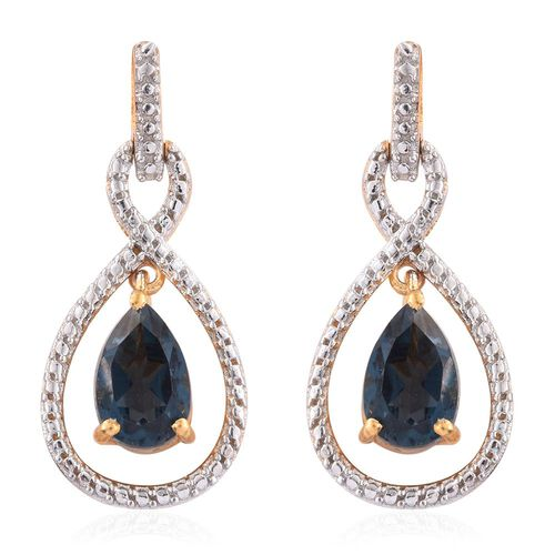 Indicolite Quartz (Pear) Earrings (with Push Back) in 14K Gold Overlay Sterling Silver 3.250 Ct.