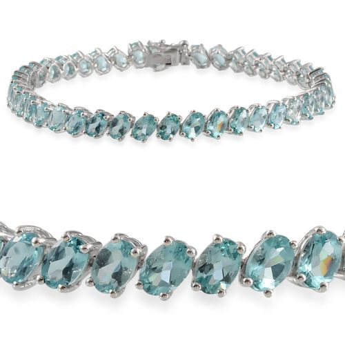 AA Paraibe Apatite (Ovl) Bracelet in Platinum Overlay Sterling Silver (Size 8) 17.000 Ct.