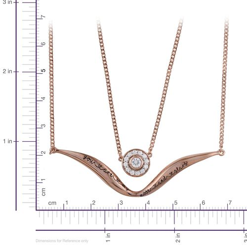 Kimberley A Wish From Me Collection Natural Cambodian Zircon (Rnd) Necklace (Size 18) and Pendant in Rose Gold Overlay Sterling Silver, Silver Wt. 15.00 Gms.