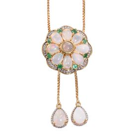 GP Ethiopian Welo Opal (Rnd 3.15 Ct), Kagem Zambian Emerald and Kanchanaburi Blue Sapphire Adjustable Necklace (Size 18) in 14K Gold Overlay Sterling Silver 3.500 Ct.