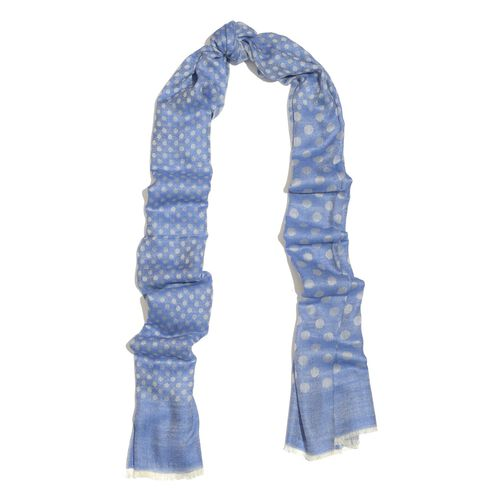 100% Cashmere Wool Blue Colour Polka Dots Pattern Shawl (Size 200x70 Cm)