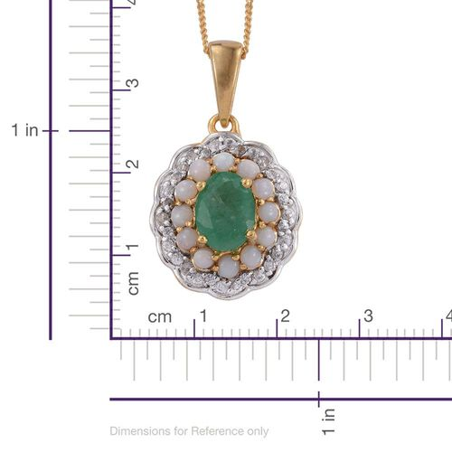 Kagem Zambian Emerald (Ovl 1.05 Ct), Natural Australian Opal and Natural Cambodian Zircon Pendant With Chain in 14K Gold Overlay Sterling Silver 1.750 Ct.