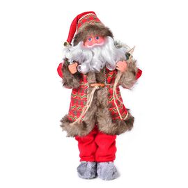 Red and Chocolate Singing Santa with Silver Magic Wand and Gift Bag (Size 47 Cm)