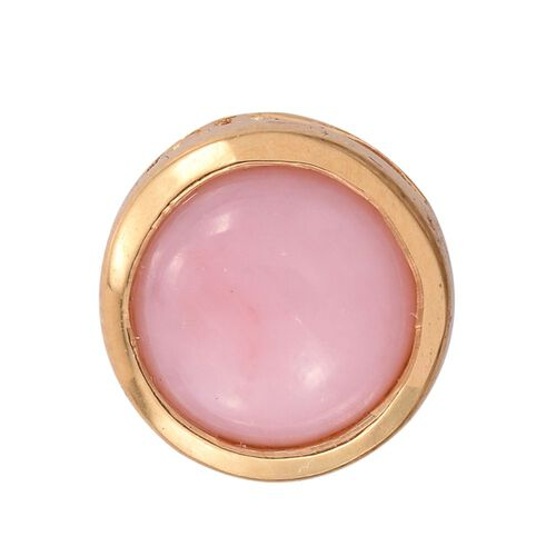 Natural Peruvian Pink Opal (Rnd) Solitaire Pendant in 14K Gold Overlay Sterling Silver 1.500 Ct.