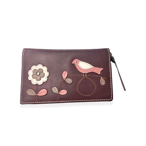 100% Genuine Leather RFID Blocker Burgundy, Pink and Multi Colour Bird with Flower Pattern Wallet with Multiple Card Slots (Size 16X10X3 Cm)