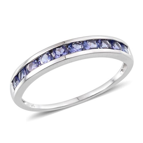 9K W Gold Tanzanite (Rnd) Half Eternity Band Ring 1.000 Ct.