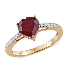 African Ruby, Natural Cambodian Zircon 2.50 Ct Silver Heart Ring in Gold Overlay