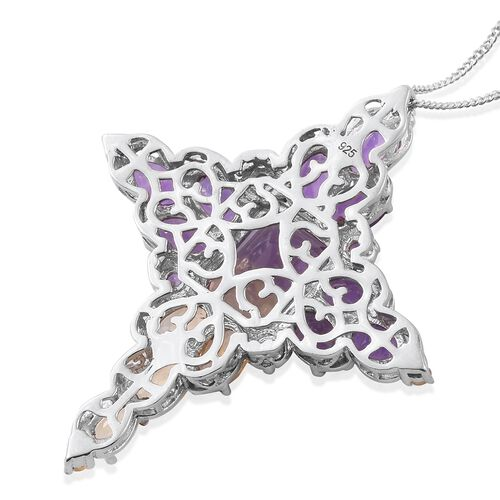 Anahi Ametrine (Oct 4.50 Ct), Amethyst and Citrine Pendant with Chain in Platinum Overlay Sterling Silver 10.035 Ct.