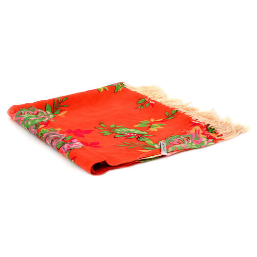 100% Wool Multi Colour Floral Pattern Orange Colour Scarf (Size 170x67 Cm)