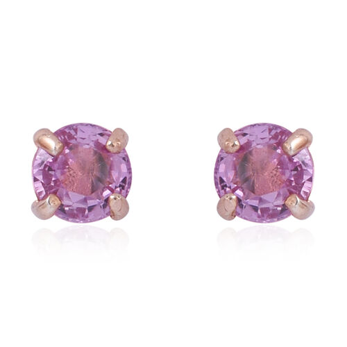 Pink Sapphire (Rnd) Stud Earrings in Rose Gold Overlay Sterling Silver 1.000 Ct.