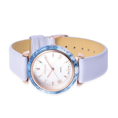 STRADA Japanese Movement White Dial Water Resistant Watch in Rose Gold Tone with Light Blue Colour Strap