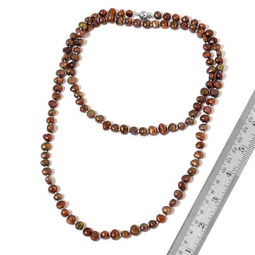 Fresh Water Chocolate Pearl Necklace (Size 38) in Silver Tone with Magnetic Lock