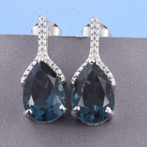 Indicolite Quartz (Pear) Earrings (with Push Back) in Platinum Overlay Sterling Silver 7.000 Ct.
