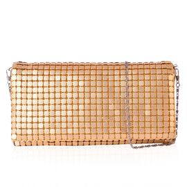 Embellished Golden Colour Satin Clutch Bag in Yellow Gold Tone (Size 25x13 Cm)