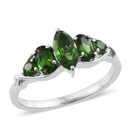 Russian Diopside (Mrq) Ring in Platinum Overlay Sterling Silver 1.250 Ct.