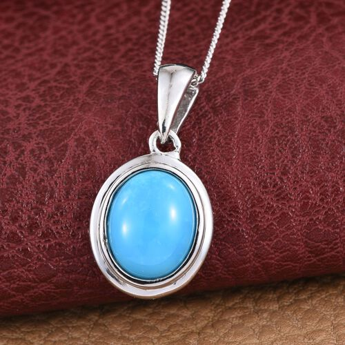 Arizona Sleeping Beauty Turquoise (Ovl) Solitaire Pendant with chain in Platinum Overlay Sterling Silver 2.000 Ct.
