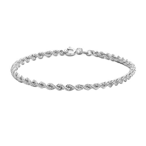 JCK Vegas Collection Rhodium Plated Sterling Silver Rope Bracelet (Size 7.25), Silver wt 4.10 Gms.