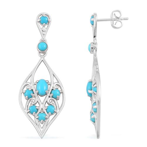 Arizona Sleeping Beauty Turquoise (Ovl) Earrings (with Push Back) in Platinum Overlay Sterling Silver 0.960 Ct.