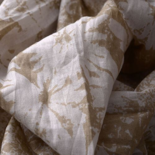 Set of 2 -  100% Cotton Green, White and Latte Colour Floral Pattern Pareo (Size 180x100 Cm)
