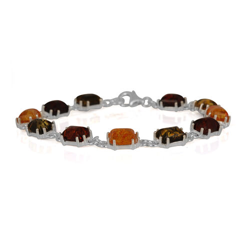 Baltic Multi Colour Amber (Oct) Bracelet (Size 7.75) in Sterling Silver