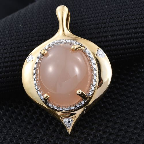 Orange Moonstone (Ovl) Solitaire Pendant in 14K Gold Overlay Sterling Silver Pendant 7.500 Ct.