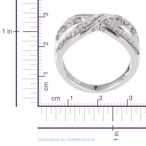 J Francis - Platinum Overlay Sterling Silver (Bgt) Criss Cross Ring Made with SWAROVSKI ZIRCONIA