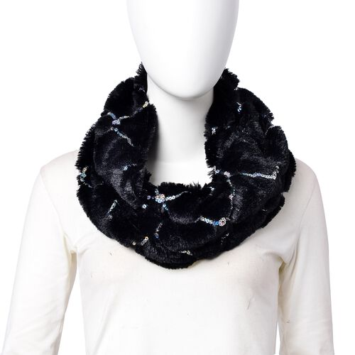 Designer Inspired - Black Colour with Sequins Faux Fur Infinity Scarf (Size 80x20 Cm)