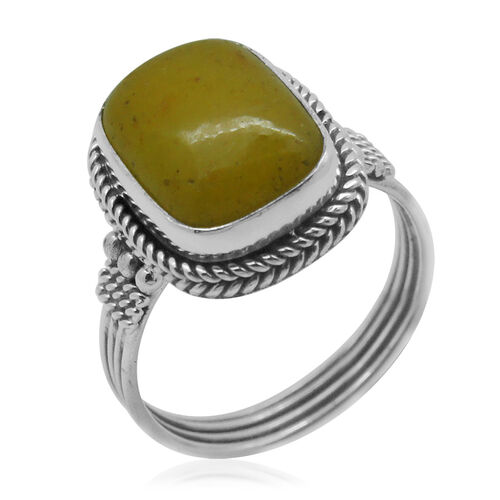 Royal Bali Collection Yellow Jade (Cush) Ring in Sterling Silver 11.260 Ct.