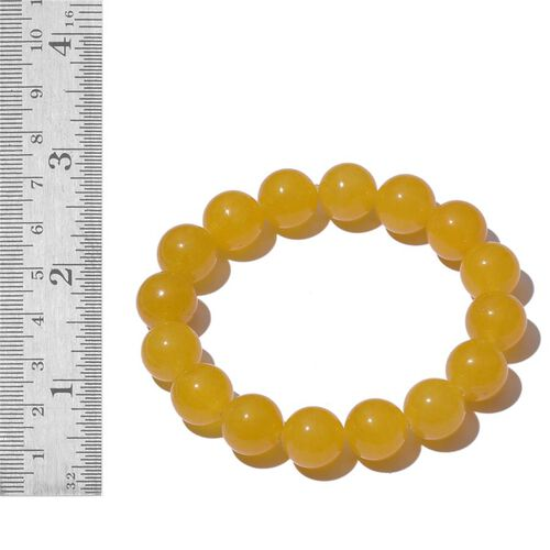 Yellow Quartzite Stretchable Ball Beads Bracelet (Size 7.5) 160.000 Ct.